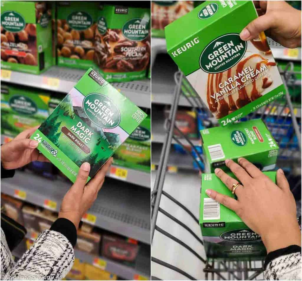 Shopping Green Mountain coffee pods from Walmart