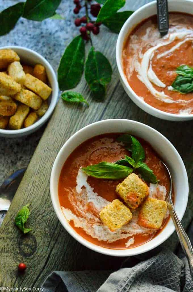 Easy Instant pot Tomato soup with basil