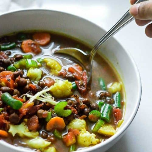 Kala chana soup with vegetables