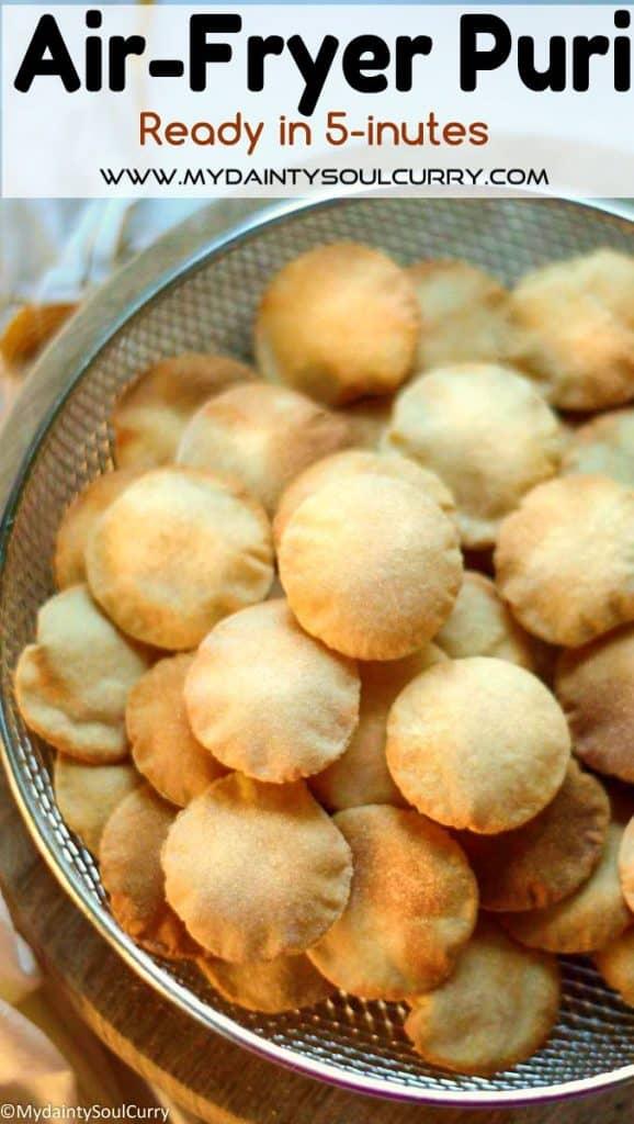 Crispy air-fryer puris