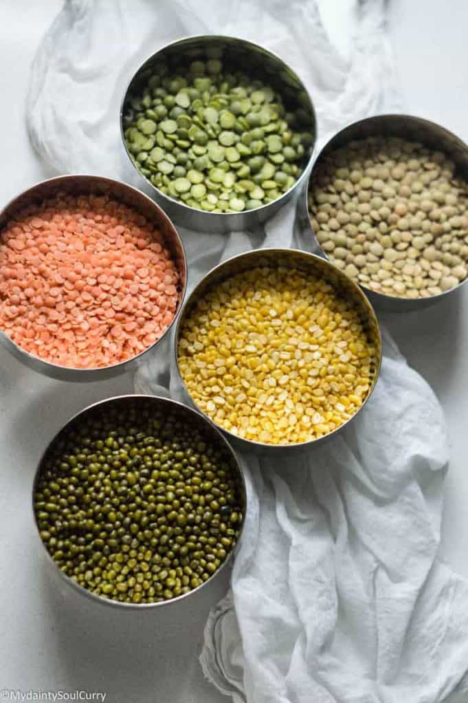 Types of lentils you can use for mixed dal dosa