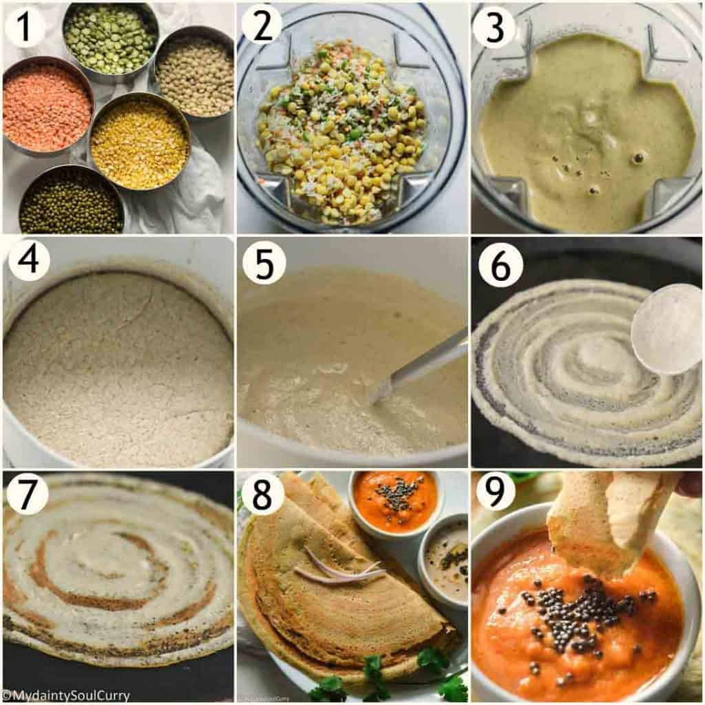 How to make mixed dal dosa?