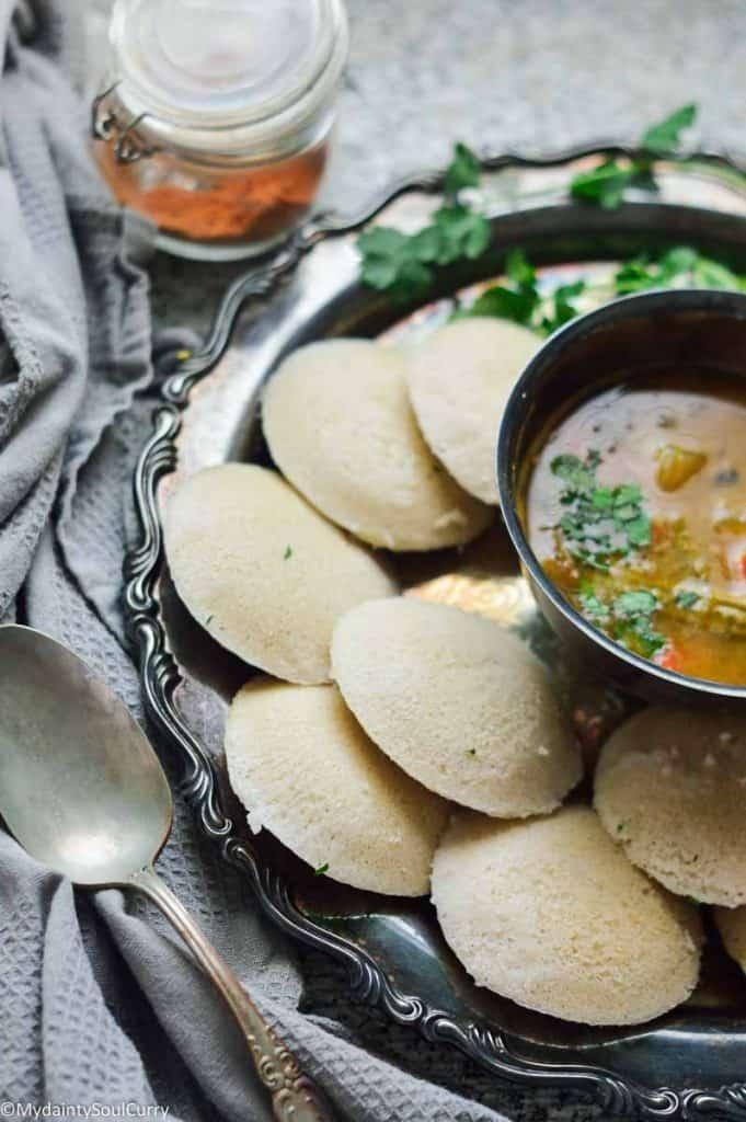 Quinoa idli with sambar