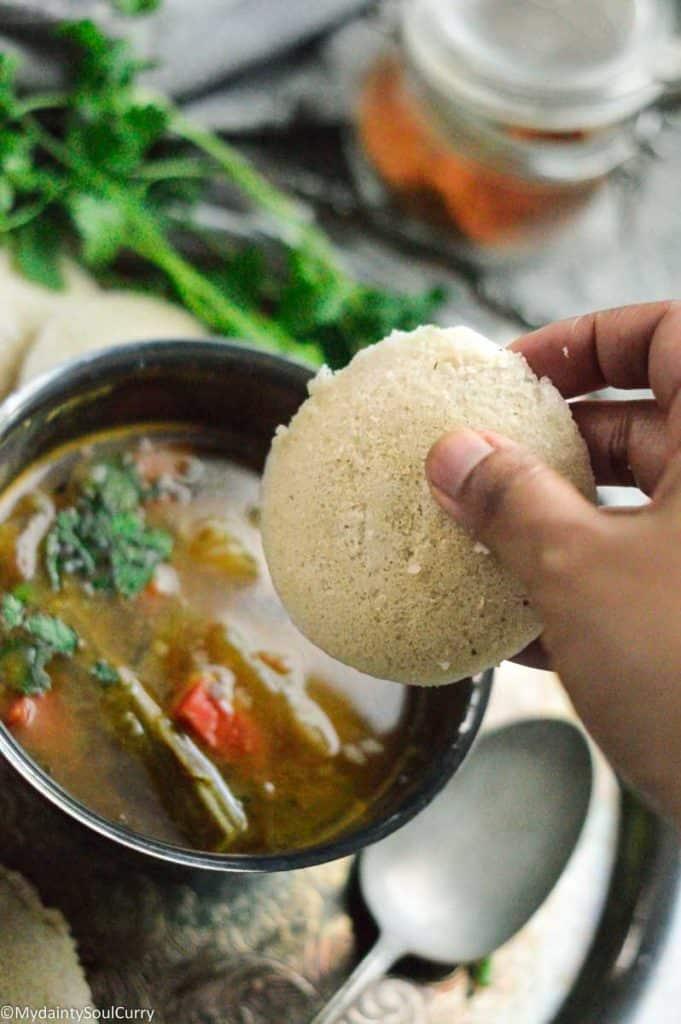 Enjoying quinoa based idli with sambar