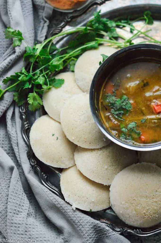 Serving with with quinoa based idli