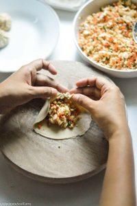 pleat the edges of dumplings