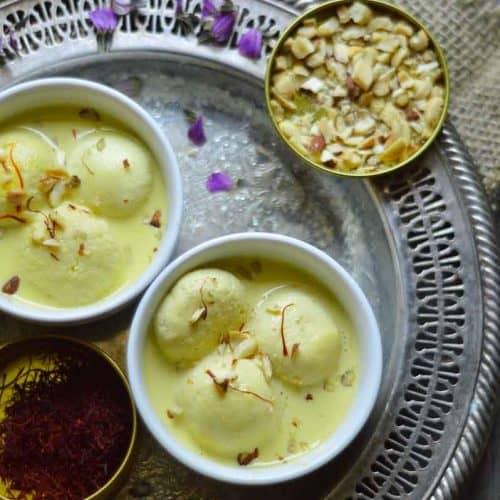 Rasmalai in saffron milk