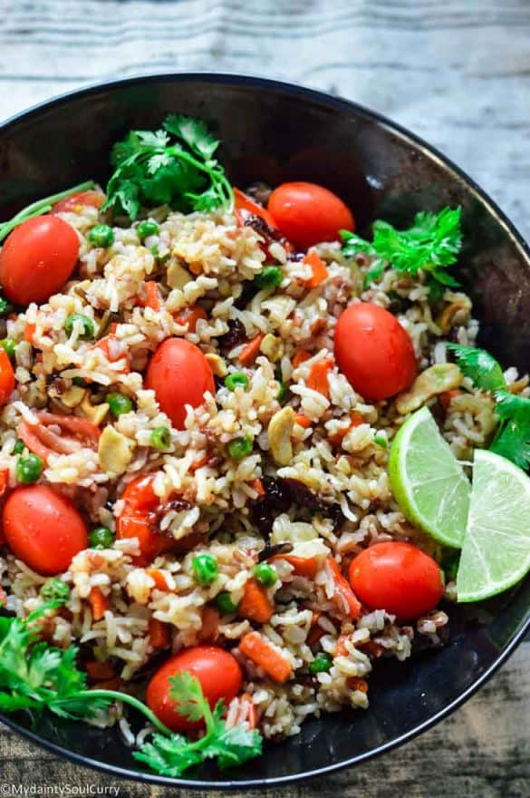 Wild rice pilaf with nuts and fruits