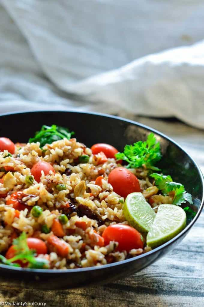 Flavorful wild rice pilaf with nuts and fruits