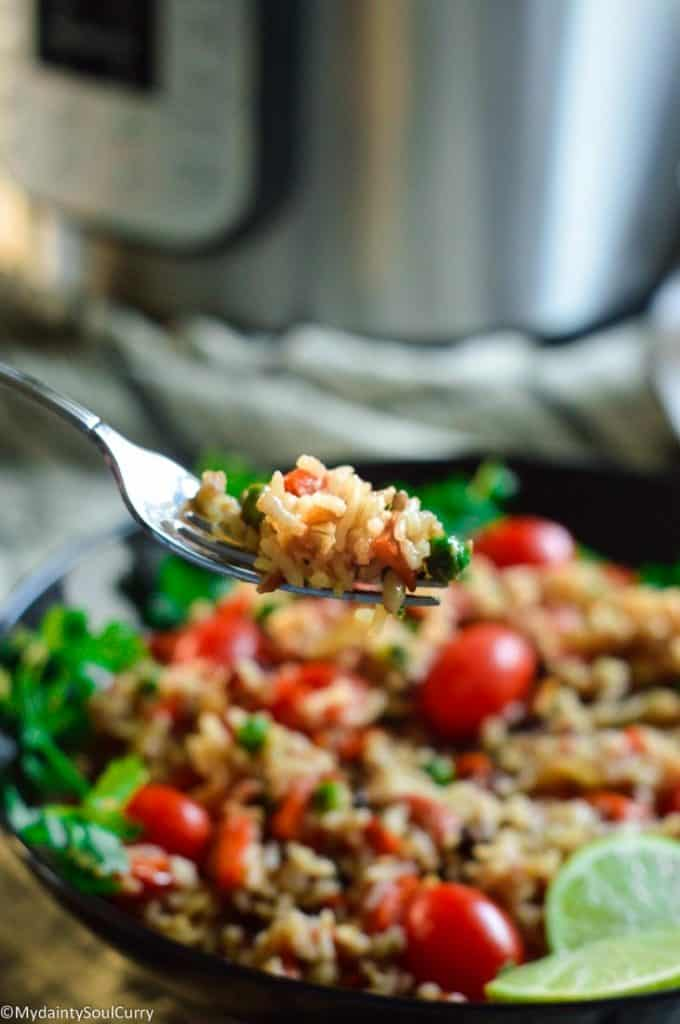 a spoon of wildrice pilaf