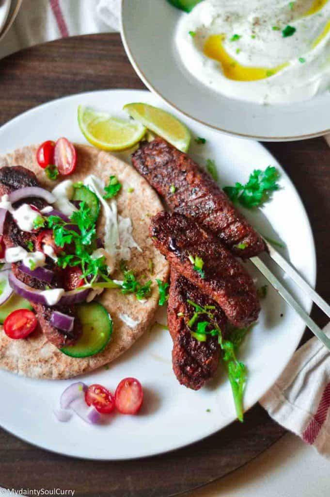 Tasty vegan seekh kabab roll