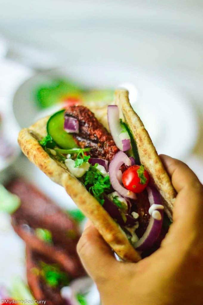 Tasty pita gyro with vegan patties