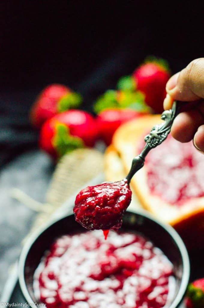 Spoonful of strawberry jam