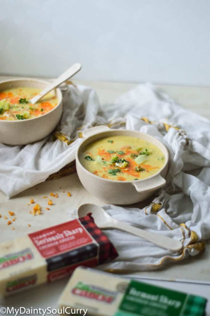 Cabot cheese and broccoli soup