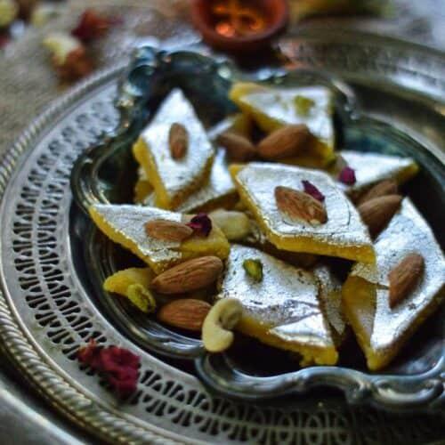 mango katli with badam powder